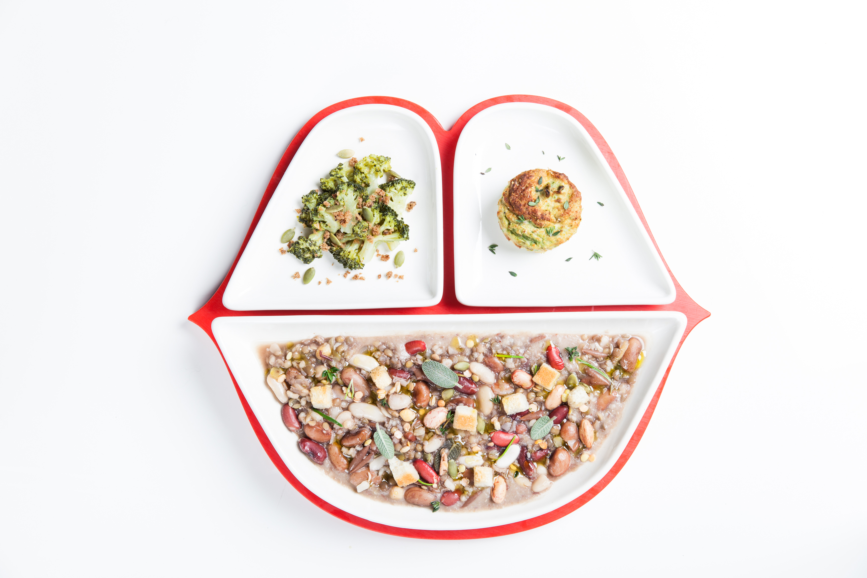 Gym Tonic- Zuppetta legumi e cereali, broccoletti saltati e tortino di patate