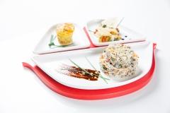Si ride in canoa- Riso e quinoa con verdure, tortino di patate e verdure miste agrodolci
